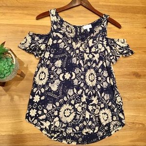 Lucky Brand Floral Cold Shoulder Top Size XS
